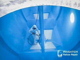 Wasatch Railcar Repairs - Washing Inside Freight Car